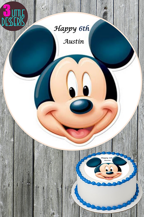 """MICKEY MOUSE 7.5"""" Edible Birthday Cake Topper WAFER / ICING PERSONALISED"""