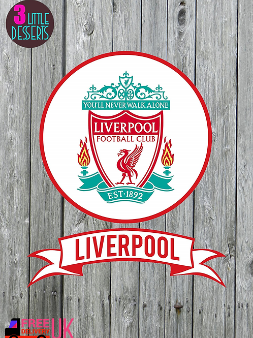 """LIVERPOOL Cake Topper 6"""" Banner 7x2"""" WAFER/ ICING Sheet Cake Topper"""