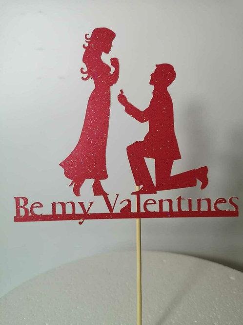 Valentines Cake Topper Glitter Card Valentine Favour Decoration