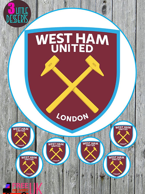 """WEST HAM UNITED FC 7.5"""" CAKE EDIBLE WAFER / ICING SHEETS 6 1.5 INCHES CUPCAKE TO"""