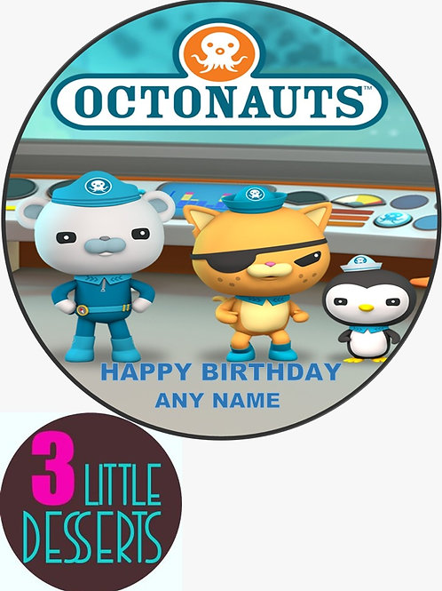 """OTONAUTS 7.5"""" EDIBLE BIRTHDAY CAKE TOPPER 1.5"""" 2"""" CUPCAKE TOPPERS WAFER / ICING"""