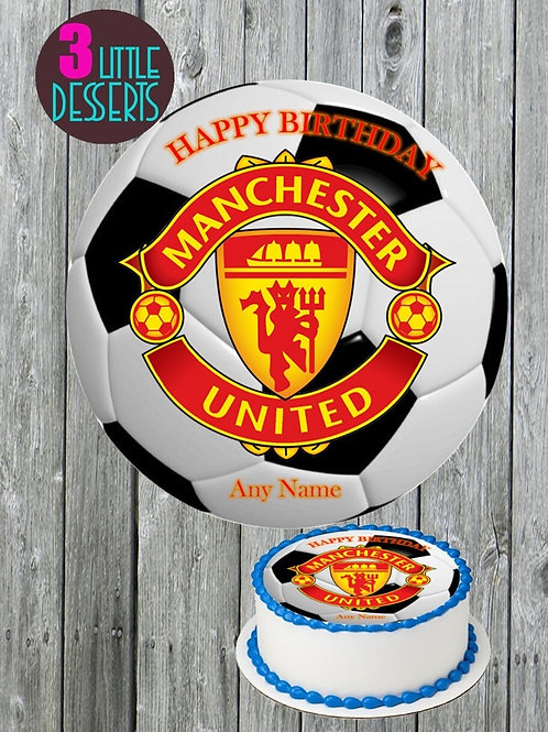 """MANCHESTER UNITED / ANY TEAM LOGO 7.5"""" EDIBLE CAKE TOPPER ICING WAFER"""