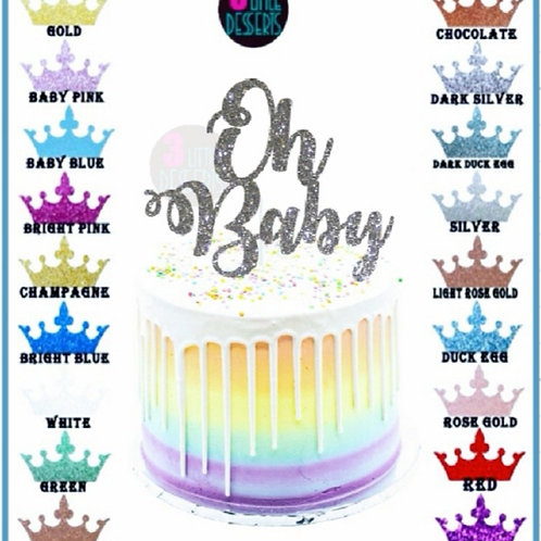 Oh Baby silver Glitter card cake topper