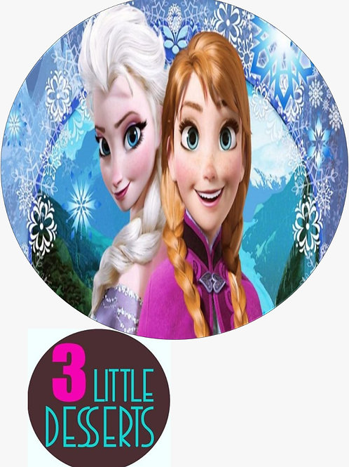 """FROZEN ELSA & ANNA 7.5"""" EDIBLE BIRTHDAY CAKE CUPCAKE TOPPERS WAFER / ICING"""