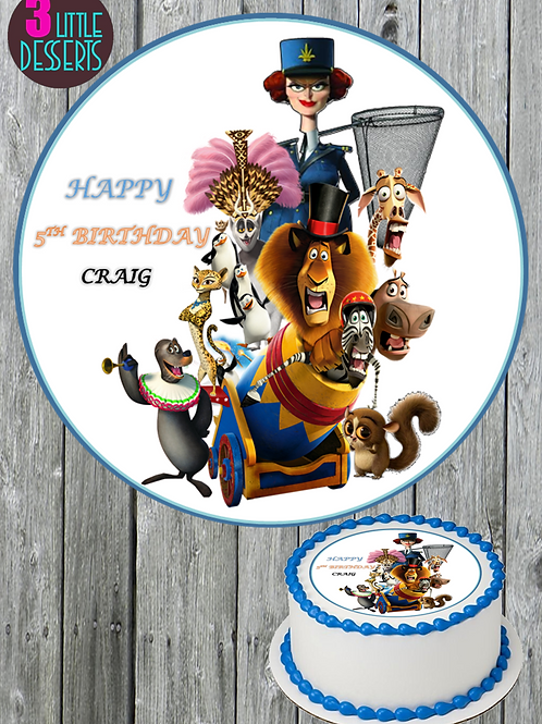 MADAGASCAR MOVIE / ANY PICTURE EDIBLE WAFER ICING CAKE CUPCAKE TOPPERS