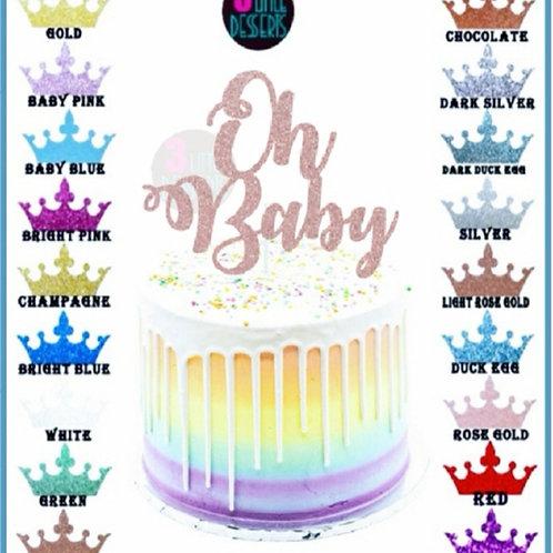 Oh Baby Light Rose Gold Glitter card cake topper