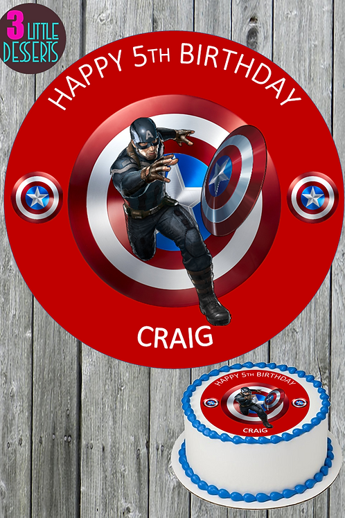 "CAPTAIN AMERICA MOVIE 7.5"" Round Edible Birthday Cake Topper  WAFER PERSONALISED"