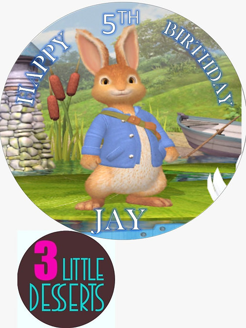 """PETER RABBIT 7.5"""" EDIBLE BIRTHDAY CAKE TOPPER & CUPCAKE TOPPERS WAFER / ICING"""