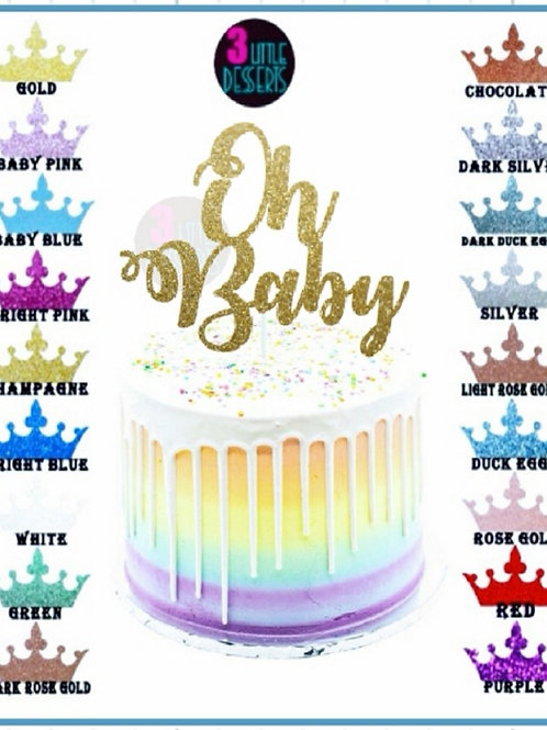 Oh Baby Gold Glitter card cake topper
