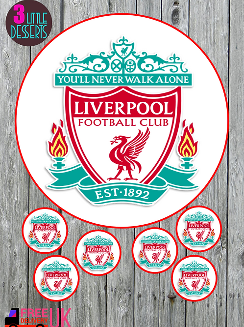 """LIVERPOOL FC 7.5"""" CAKE EDIBLE WAFER / ICING SHEETS 6 1.5 INCHES CUPCAKE TOPPERS"""
