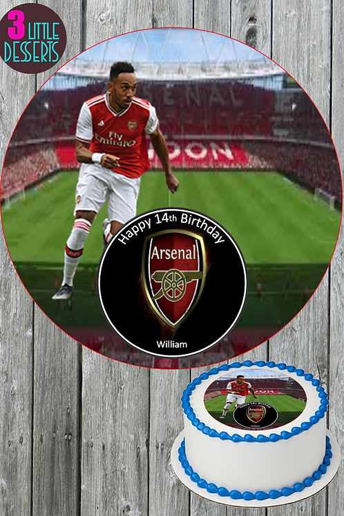 """ARSENAL FC 7.5"""" ROUND EDIBLE ICING CAKE TOPPER PERSONALISED CELEBRATION"""