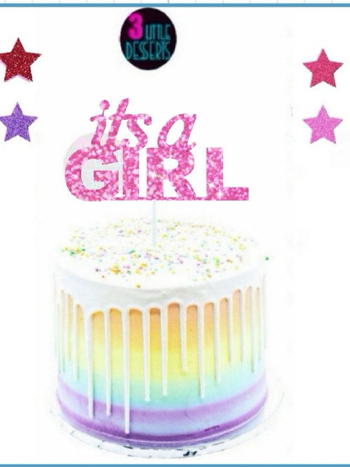 Its A Girl Pink Glitter card