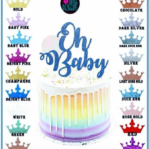 Oh Baby Blue Glitter card cake topper