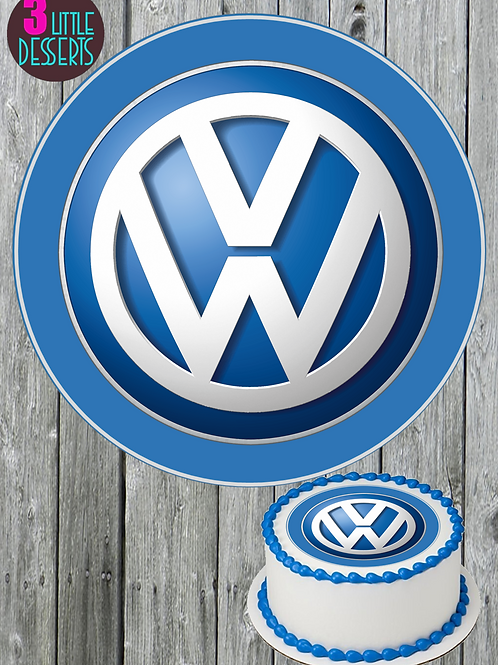 VW / ANY CAR LOGO EDIBLE WAFER ICING CAKE CUPCAKE TOPPERS BADGE