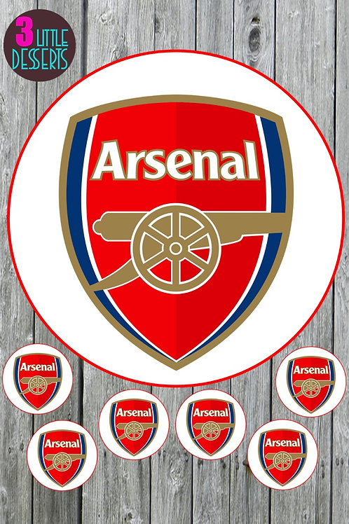 """ARSENAL FC 7.5"""" CAKE EDIBLE WAFER / ICING SHEETS 6 1.5 INCHES CUPCAKE TOPPERS"""