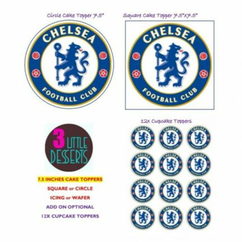 CHELSEA / ANY TEAM LOGO EDIBLE WAFER ICING CAKE CUPCAKE TOPPERS BADGE