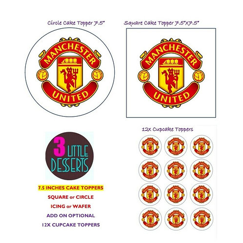 MANCHESTER UNITED / ANY TEAM LOGO EDIBLE WAFER ICING CAKE CUPCAKE TOPPERS BADGE