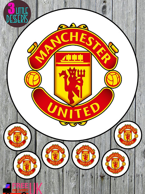 """MANCHESTER UTD FC 7.5"""" CAKE EDIBLE WAFER / ICING SHEETS 6 1.5 INCHES CUPCAKE TO"""