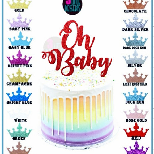 Oh Baby Red Glitter card cake topper