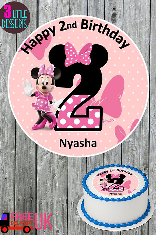 """MINNIE MOUSE 7.5"""" EDIBLE BIRTHDAY CAKE TOPPER & CUPCAKE TOPPERS WAFER / ICING"""