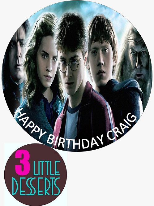 "HARRY POTTER 7.5"" EDIBLE BIRTHDAY CAKE CUPCAKE TOPPERS WAFER ICING PERSONALISED"