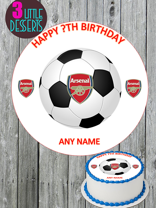 "ARSENAL FC 7.5"" ROUND EDIBLE ICING CAKE TOPPER PERSONALISED CELEBRATION"