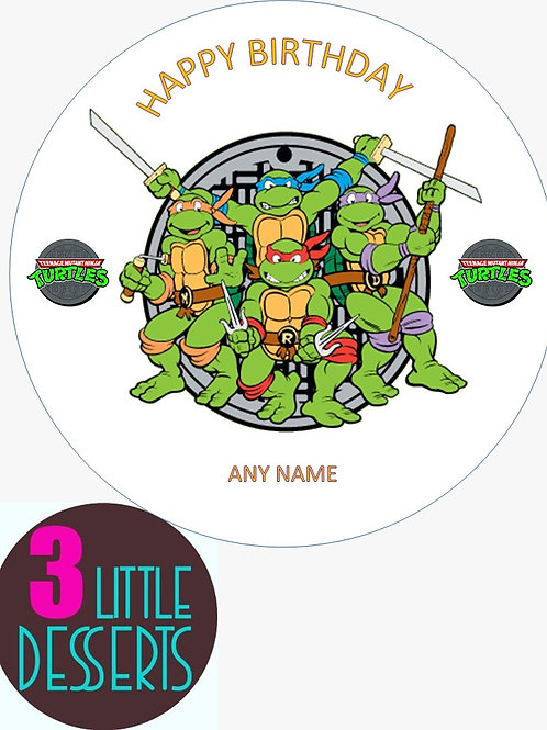 "NINJA TURTLES 7.5"" EDIBLE BIRTHDAY CAKE TOPPER & CUPCAKE TOPPERS WAFER / ICING"