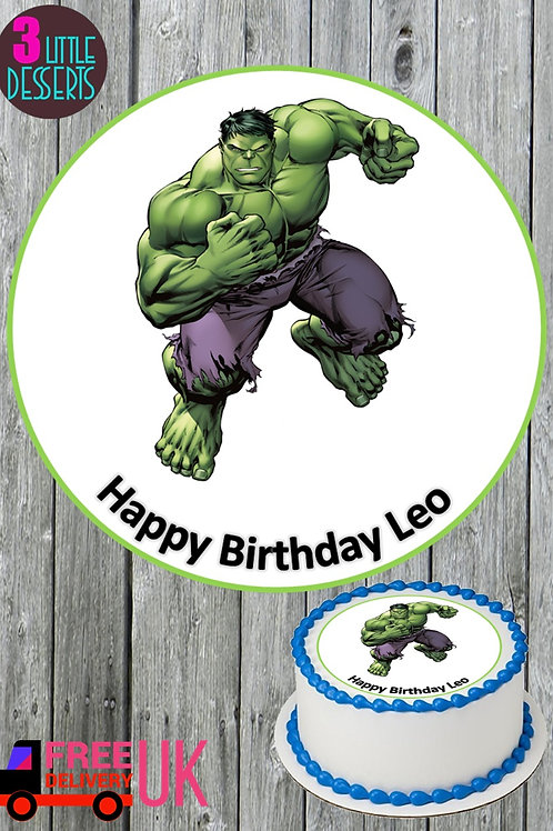 "HULK 7.5"" EDIBLE BIRTHDAY CAKE TOPPER 1.5"" & 2"" CUPCAKE TOPPERS WAFER / ICING"