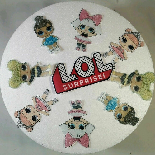 "8 LOL DOLS 3.5"" HIGH & LOGO 5"" WIDE EDIBLE CAKE TOPPER WAFER / ICING PRECUT"