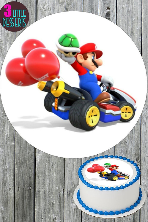 """MARIO KART TOUR 7.5"""" EDIBLE BIRTHDAY CAKE TOPPER & CUPCAKE TOPPERS WAFER / ICING"""