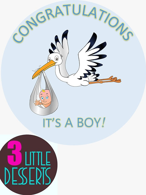 "IT'S A BOY 7.5"" EDIBLE BIRTHDAY CAKE TOPPER 1.5"" 2"" CUPCAKE TOPPERS WAFER ICING"
