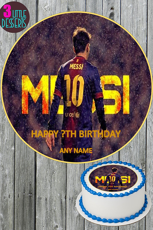 """LIONEL MESSI BARCELONA FC 7.5"""" ROUND EDIBLE CAKE TOPPER WAFER ICING"""