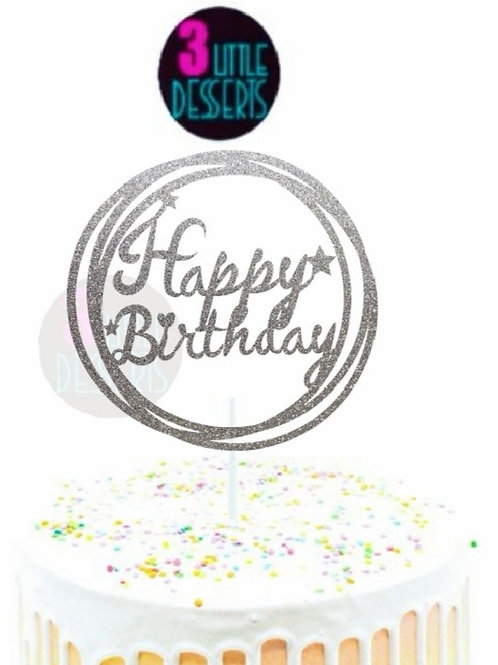 Happy Birthday Round Cake Topper Glitter Card Stock