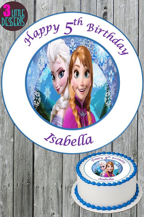 "FROZEN ELSA & ANNA MOVIE 7.5"" Round Edible Birthday ICING / WAFER PERSONALISED"