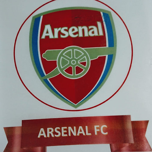 Arsenal FC Cake Topper & Banner ICING Sheet ***FAINT LINES ACROSS THE TOPPER***