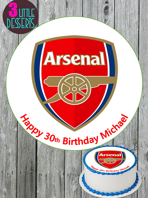 "ARSENAL FC 7.5"" ROUND EDIBLE ICING CAKE TOPPER PERSONALISED CELEBRATION MESSAGE"
