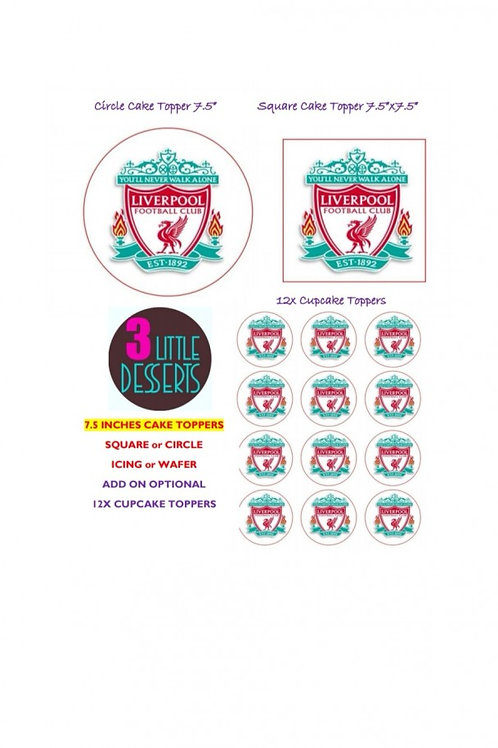 LIVERPOOL / ANY FOOTBALL TEAM LOGO EDIBLE WAFER ICING CAKE CUPCAKE TOPPERS BADGE