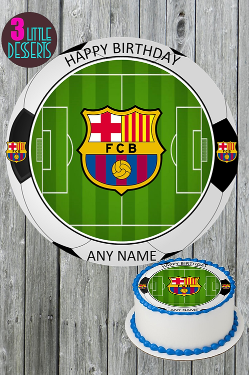 """BARCELONA FC /ANY TEAM LOGO 7.5"""" ROUND EDIBLE CAKE TOPPER ICING PERSONALISED"""