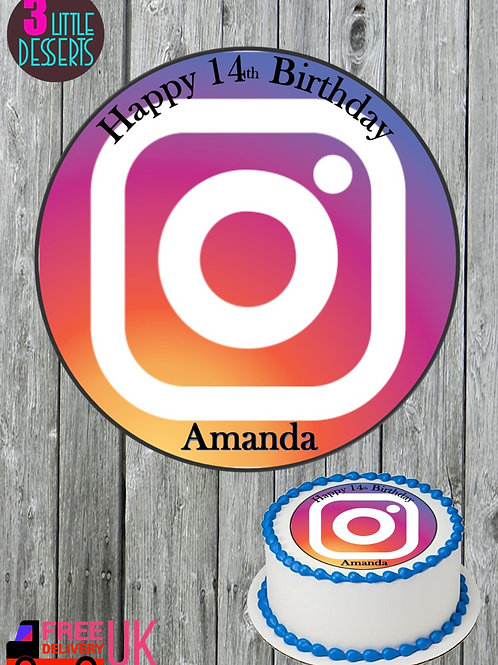 "INSTAGRAM 7.5"" EDIBLE BIRTHDAY CAKE TOPPER 1.5"" 2"" CUPCAKE TOPPERS WAFER / ICING"