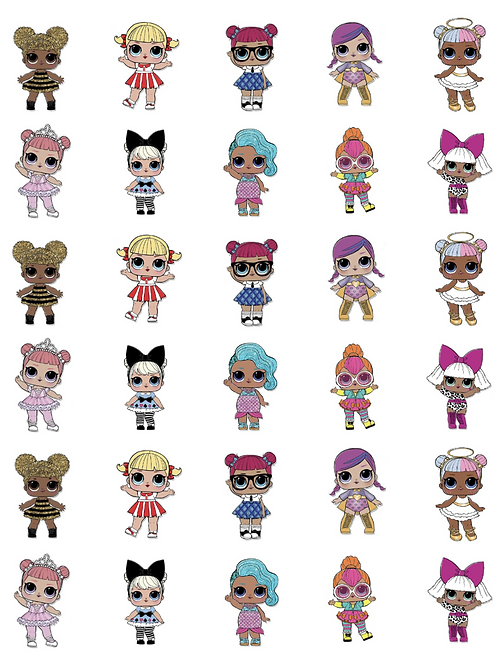 LOL Precut 15 Dolls Printed Edible Stand Up Cake Cupcake Toppers on Wafer Paper