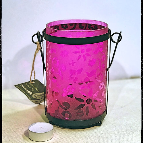 Etched Flower Pink Glass Lantern