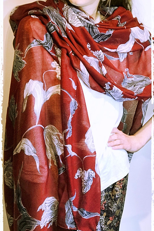 Etched Floral pattern Scarf