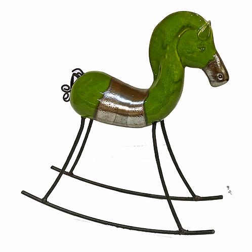 Green Rocking Horse Statue