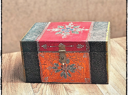 Hand Painted Floral Design Wooden Box