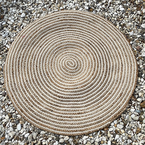 Natural Jute and Cotton Braided Round Rug