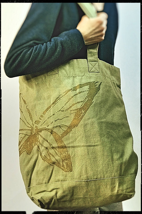 Large Green Butterfly Shopping Bag