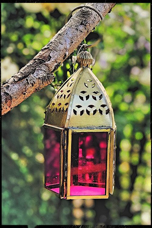 Mini Pink glass lantern
