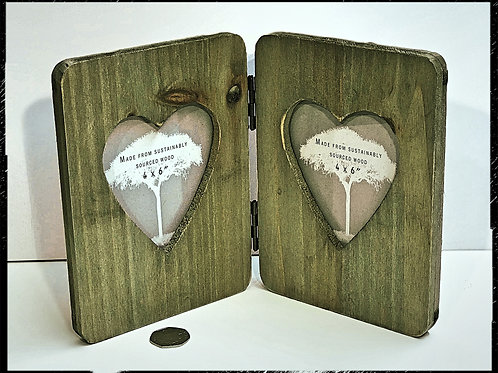 Rustic Wood Double Heart Frame