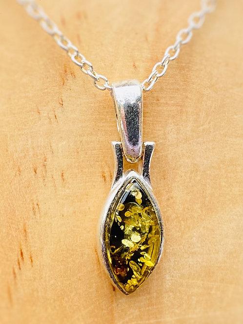 Green Amber oval Pendant