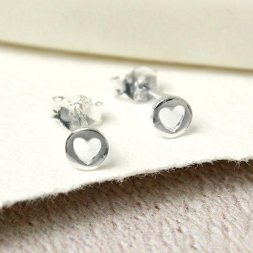 Sterling Silver Cut-Out Heart Stud Earrings